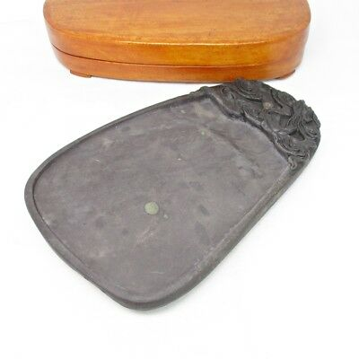 H269: Chinese ink stone of TANKEI style with good sculpture and wooden case