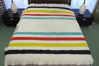 """DIRTY, IN BAD SHAPE Vintage HUDSON'S BAY ENGLAND 4-Point Wool Blanket; 79"""" x 63"""""""