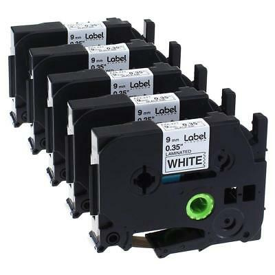 TZe221 Label Tape Black on White 9mm P-Touch Compatible for Brother Ribbon 5PK