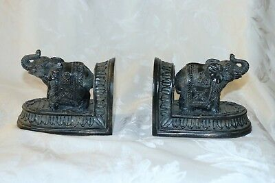 Pair of  Heavy Ornate Resin Elephants trunks up Bookends