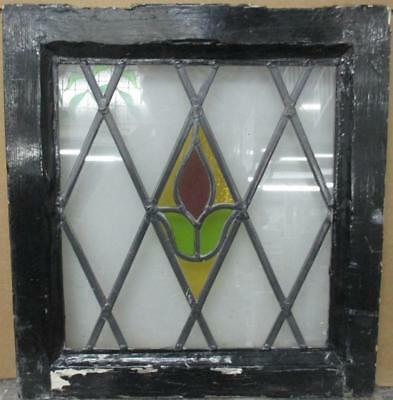 """OLD ENGLISH LEADED STAINED GLASS WINDOW Nice Diamond Leaded Floral 17.25"""" x 18"""""""