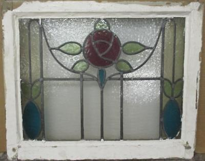 """MID SIZED OLD ENGLISH LEADED STAINED GLASS WINDOW Stunning Floral 24"""" x 19.5"""""""