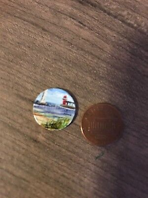 Hand Painted Penny Original Unique Gift Coin Collection Lighthouse And Sailboat