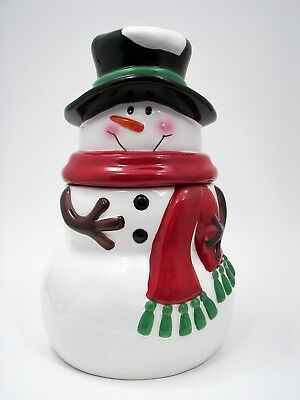Walmart Snowman Cookie Jar Top Hat Scarf Christmas Holiday Canister