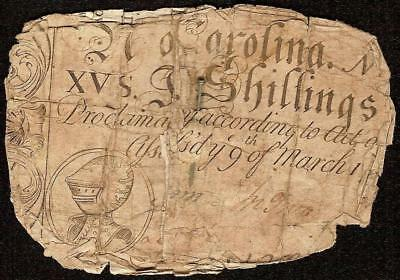 MARCH 9, 1754 NORTH CAROLINA COLONIAL CURRENCY 15s ARMOR NOTE PAPER MONEY NC-78