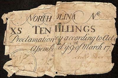 MARCH 9, 1754 NORTH CAROLINA COLONIAL CURRENCY 10s DOVE NOTE PAPER MONEY NC-77