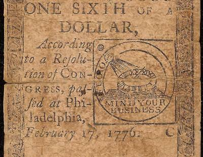 1776 $1/6 Dollar Mind Your Business Continental Currency Fugio Chain Link Note