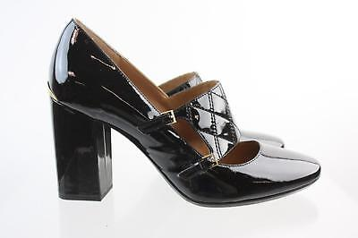 06817e618b32 Calvin Klein Black Patent Leather Round Toe Chunky Heel Mary Jane Pumps  Size 9