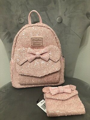 Disney Parks Loungefly Millennial Pink Sequin Minnie Mouse Backpack & Wallet NWT