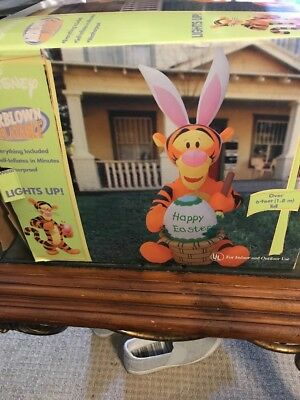 Gemmy 2004 6' Lighted Tigger painting Easter Egg Basket inflatable Airblown