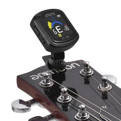 Rechargeable Clip on Tuner for Guitar Ukulele Bass Vionlin Mandolin Black Q6T4