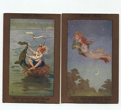 Peter Pan Wendy Never Never Land  Faulkner Co  lot of  2 postcards  by S Barham