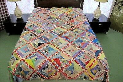 "Vntage Feed Sack Machine Pieced STRING X PATTERN Quilt TOP, Needs TLC; 87"" x 72"""