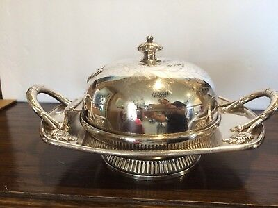 Antique Victorian Reed Barton Silver Plate Lid w/ Hinge Butter Dish circa 1892