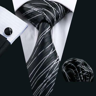 USA Black Striped Classic Mens Silk Tie Necktie Jacquard Woven Set Wedding Party