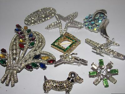 9 Vintage Costume Jewelry Pins-Rhinestones-Animals-A&s-Vogue-Nr