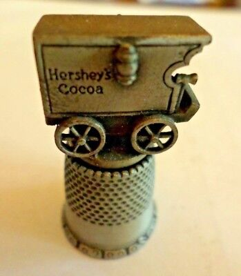 VINTAGE Pewter Collector  Thimble~ Antique Hershey's Cocoa Delivery Wagon