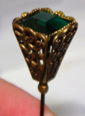 Antique Art Nouveau Green Faceted Square Crystal Hat Pin - Hatpin, c. 1900