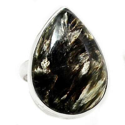 Rare Black Golden Seraphinite From Serbia 925 Silver Ring Jewelry s.8.5 RR204492