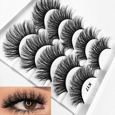 SKONHED 5Pairs 3D Soft Mink Hair Wispy Fluffy Long Lashes Extension Full Strips.