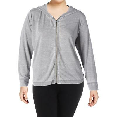The Balance Collection Womens Juniper Gray Hoodie Athletic Plus 2X BHFO 4916