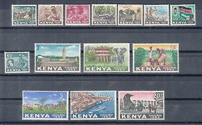 Kenya: 1963 definitive set of 14 stamps. SG1-14. M/H. Going cheap.