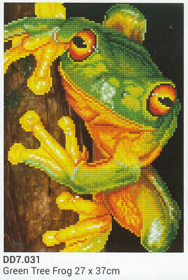 Diamond Dotz 5D Embroidery Facet Art Kit, GREEN TREE FROG 27 x 37cm, Round Dots
