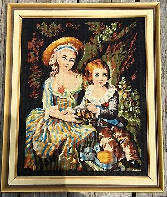 Fine Needlepoint Cotton Tapestry Picture In Frame