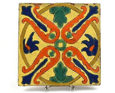 """Vintage D & M Tile Company 8"""" Colorful Persian Inspired Tile c1920-30s"""