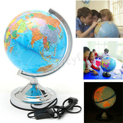 LED WORLD GLOBE Rotating Earth Map Stand Geography Educational Toy 20CM Gift New