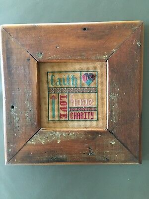 Fine Cotton Needle Point Tapestry In Wooden Frame.