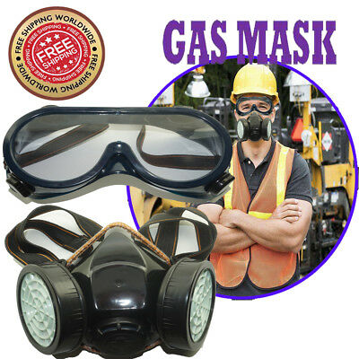 Antivirus Double Filter Gas Mask & Goggles Protection Respirator Chemical Safe