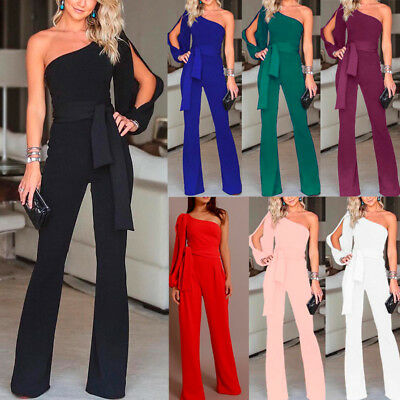 UK Womens One Shoulder Wied Leg Jumpsuit Ladies Evening Party Playsuit Size 6-16