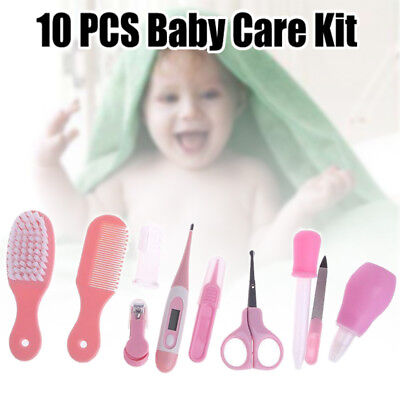 10x Kids Baby Infant Nail Hair Health Care Kit Set Grooming Thermometer Brush UK