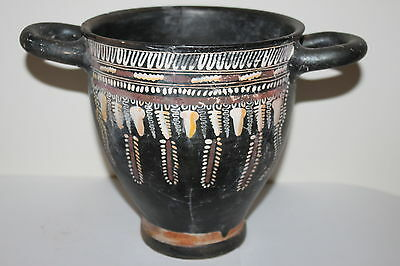 LARGE ANCIENT GNATHIAN SKYPHOS GREEK POTTERY 4th BC WINE CUP