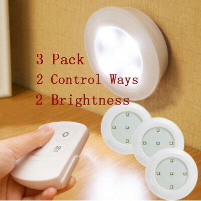 3 Wireless LED Remote Control Battery Under Cabinet Wall Night Light Dimmable