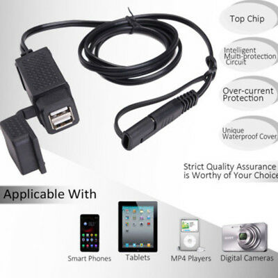 3.1A Motorcycle SAE Cable USB Adapte Weatherproof Charger Socket Battery Tender