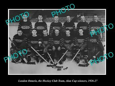 Large Old Historic Photo Of London Ontario, Ice Hockey Team, Allan Cup 1926