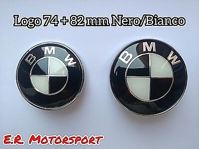 BMW Logo BLACK-WHITE 74+82 mm Nero Bianco  Bmw E46 E39 E36 E34 E53 E60