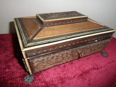 Antique C19th Anglo Indian Carved Inlaid Bone Jewellery/sewing Box with key.
