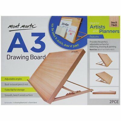 NEW Mont Marte A3 Drawing Board with Elastic Band Folded Beech Wood Easel