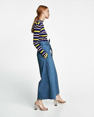 BNWT Zara SS18 Striped Top with Scalloped Hems Knit Sweater Ribbed M 3471/002 1