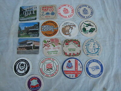 RSL Clubs Drink Coasters x 17 All Different Collectable Mancave