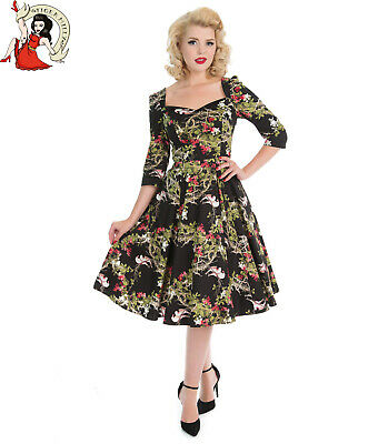 HEARTS and ROSES into the woods DRESS bird H&R LONDON forest 50s style