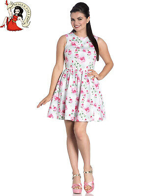 HELL BUNNY CECILY rose FLORAL summer CREAM MINI DRESS XS-4XL