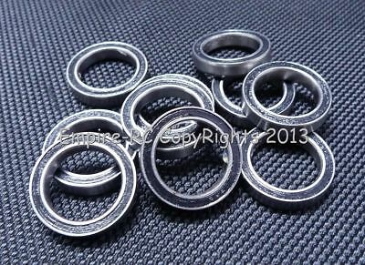 (25 PCS) S6700-2RS (10x15x4 mm) 440c Stainless Steel Rubber Sealed Ball Bearings