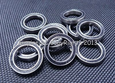 (10 PCS) S6700-2RS (10x15x4 mm) 440c Stainless Steel Rubber Sealed Ball Bearings