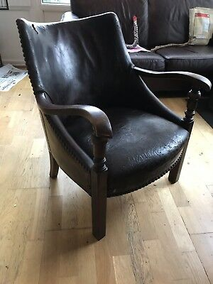 French Late 19th Early 29th Century Spring Leather Library Lounge Chair