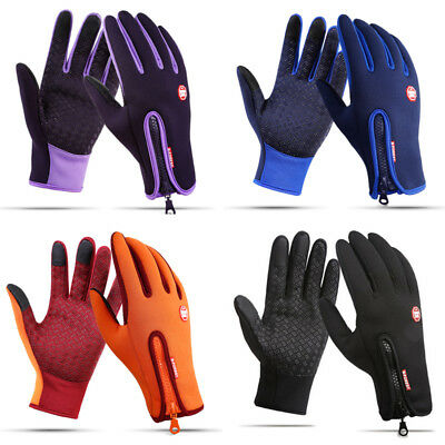 Mens Unisex Leather Gloves Touch Screen Thinsulate Lined Driving Warm Gloves US
