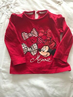 Baby toddler Girls 18-24 Months red long sleeved top Minnie Mouse Bows